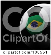Royalty Free RF Clipart Illustration Of A Shiny 3d Brazilian Flag Soccer Ball Over Black by stockillustrations