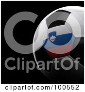 Royalty Free RF Clipart Illustration Of A Shiny 3d Slovenia Flag Soccer Ball Over Black