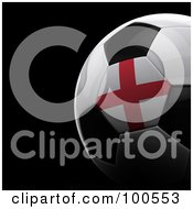 Royalty Free RF Clipart Illustration Of A Shiny 3d England Flag Soccer Ball Over Black by stockillustrations