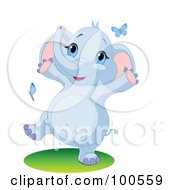 Royalty Free RF Clipart Illustration Of A Happy Baby Blue Elephant Playing With Butterflies by Pushkin