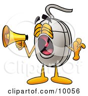 Clipart Picture Of A Computer Mouse Mascot Cartoon Character Screaming Into A Megaphone