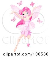 Royalty Free RF Clipart Illustration Of A Pink Haired Pixie Girl Flying With Pink Butterflies by Pushkin