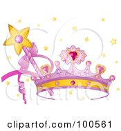 Royalty Free RF Clipart Illustration Of A Purple Princess Crown With Pink Heart Gems A Wand And Stars by Pushkin #COLLC100561-0093