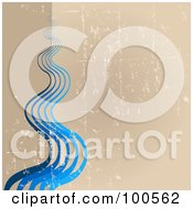 Royalty Free RF Clipart Illustration Of A Grungy Tan Background With Flowing Blue Waves