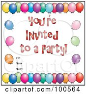 Royalty Free RF Clipart Illustration Of A Border Of Colorful Balloons And Youre Invited To A Party Text by Pams Clipart