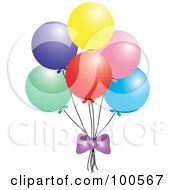 Royalty Free RF Clipart Illustration Of A Purple Bow Under Colorful Party Balloons by Pams Clipart