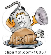 Computer Mouse Mascot Cartoon Character Serving A Thanksgiving Turkey On A Platter by Toons4Biz