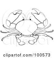 Royalty Free RF Clipart Illustration Of A Coloring Page Outline Of A Crab