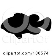 Royalty Free RF Clipart Illustration Of A Black Silhouetted Clown Fish by Pams Clipart