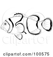 Royalty Free RF Clipart Illustration Of A Profiled Black And White Clown Fish by Pams Clipart