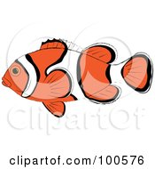 Royalty Free RF Clipart Illustration Of A Profiled Orange White And Black Clown Fish by Pams Clipart