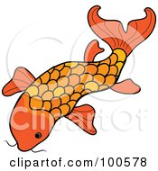 Royalty Free RF Clipart Illustration Of An Orange Swimming Koi Fish by Pams Clipart