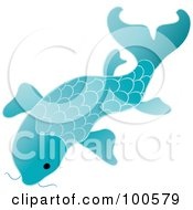 Royalty Free RF Clipart Illustration Of A Blue Koi Fish Swimming by Pams Clipart