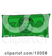 Clipart Picture Of A Computer Mouse Mascot Cartoon Character On A Dollar Bill by Toons4Biz