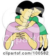 Royalty Free RF Clipart Illustration Of A Loving Asian Daughter Hugging Her Mom From Behind by Pams Clipart