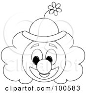 Royalty Free RF Clipart Illustration Of A Coloring Page Outline Of A Clown Face With A Floral Hat by Pams Clipart