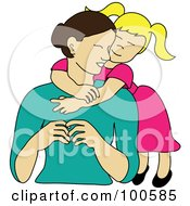 Royalty Free RF Clipart Illustration Of A Loving Blond Daughter Hugging Her Mom From Behind by Pams Clipart