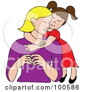 Royalty Free RF Clipart Illustration Of A Loving Brunette Daughter Hugging Her Mom From Behind by Pams Clipart