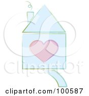 Royalty Free RF Clipart Illustration Of A Drawn Blue House With A Pink Heart Home Is Where The Heart Is by Pams Clipart