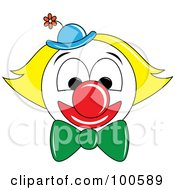 Royalty Free RF Clipart Illustration Of A Grinning Clown Face With Yellow Hair And A Blue Hat by Pams Clipart