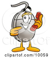Clipart Picture Of A Computer Mouse Mascot Cartoon Character Holding A Telephone