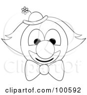 Royalty Free RF Clipart Illustration Of A Coloring Page Outline Of A Clown Face With A Bow Tie And Hat by Pams Clipart