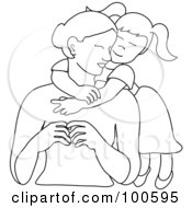 Royalty Free RF Clipart Illustration Of A Loving Outlined Daughter Hugging Her Mom From Behind by Pams Clipart