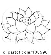 Coloring Page Outline Of A Lotus Flower Fully Bloomed