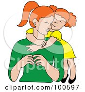 Royalty Free RF Clipart Illustration Of A Loving Red Haired Daughter Hugging Her Mom From Behind by Pams Clipart
