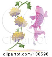 Royalty Free RF Clipart Illustration Of A Pink Koi Fish Leaping Near Lotus Flowers by Pams Clipart