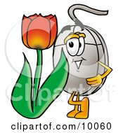 Computer Mouse Mascot Cartoon Character With A Red Tulip Flower In The Spring