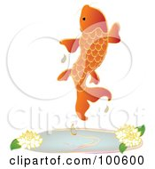 Royalty Free RF Clipart Illustration Of An Orange Koi Fish Leaping Out Of A Pond by Pams Clipart