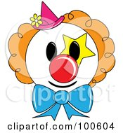 Royalty Free RF Clipart Illustration Of A Clown Face With Orange Hair And A Pink Hat by Pams Clipart