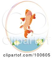 Royalty Free RF Clipart Illustration Of An Orange Koi Fish Jumping Out Of A Pond