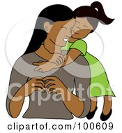 Royalty Free RF Clipart Illustration Of A Loving Indian Or Hispanic Daughter Hugging Her Mom From Behind