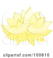 Royalty Free RF Clipart Illustration Of A Yellow Lotus Flower Fully Bloomed