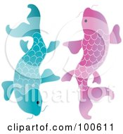 Royalty Free RF Clipart Illustration Of Two Blue And Pink Koi Fish Swimming Beside Each Other