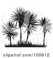 Royalty Free RF Clipart Illustration Of Four Silhouetted Palm Trees And Grass