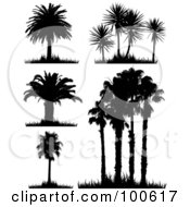 Royalty Free RF Clipart Illustration Of A Digital Collage Of Five Silhouetted Palm Tree Scenes With Grass