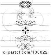 Royalty Free RF Clipart Illustration Of A Digital Collage Of Black And White Decorative Header Rules by KJ Pargeter