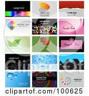 Digital Collage Of 15 Business Card Template Designs