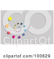 Royalty Free RF Clipart Illustration Of A Rainbow Spiral Of Dots Business Card Template Or Website Background With Gray Copyspace