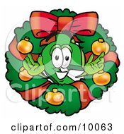 Dollar Sign Mascot Cartoon Character In The Center Of A Christmas Wreath by Toons4Biz