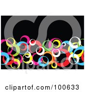 Royalty Free RF Clipart Illustration Of A Colorful Circle Business Card Template Or Website Background With Black Copyspace