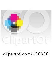 Abstract Cmyk Pixel Business Card Template Or Website Background With Gray Copyspace