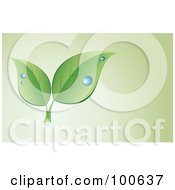 Royalty Free RF Clipart Illustration Of A Dewy Leaf Business Card Template Or Website Background With Black Copyspace