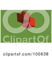 Royalty Free RF Clipart Illustration Of A Red Block Business Card Template Or Website Background With Green Copyspace