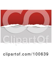 Royalty Free RF Clipart Illustration Of A Torn Paper Business Card Template Or Website Background With Red And Gray Copyspace