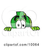 Dollar Sign Mascot Cartoon Character Peeking Over A Surface by Toons4Biz