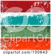 Royalty Free RF Clipart Illustration Of A Digital Collage Of Red Blue And Green Grungy Floral Text Panels by KJ Pargeter